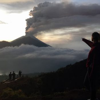 How far is Mount Batur from Mount Agung