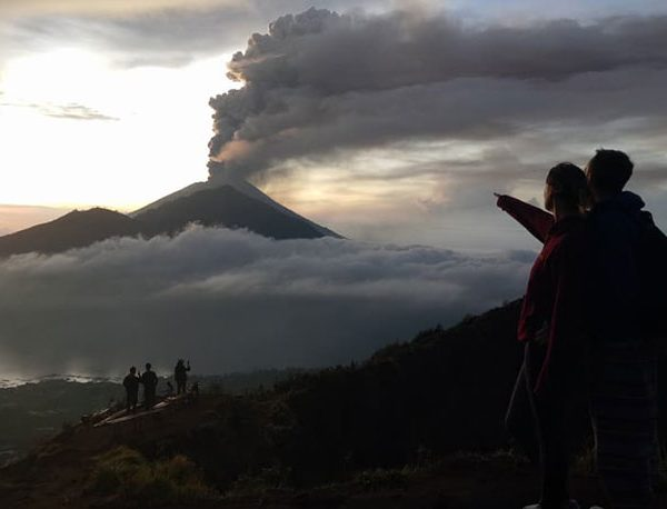 How far is Mount Batur from Mount Agung